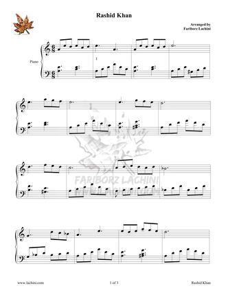 Rashid Khan 2 Sheet Music