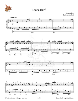 Rooze Barfi Sheet Music