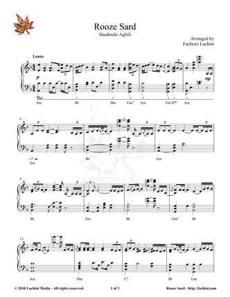 Rooze Sard Sheet Music