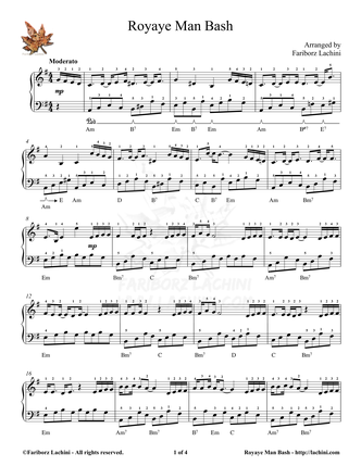 Royaye Man Bash Sheet Music