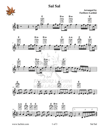 Sal Sal Sheet Music