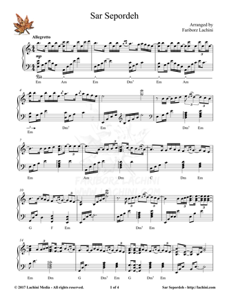 Sar Sepordeh Sheet Music