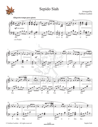 Sepido Siah Sheet Music