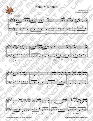 Shak Mikonam Sheet Music