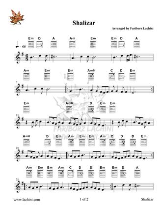 Shalizar Sheet Music