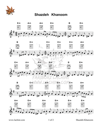 Shazdeh Khanoom Sheet Music