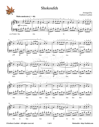 Shokoufeh Sheet Music