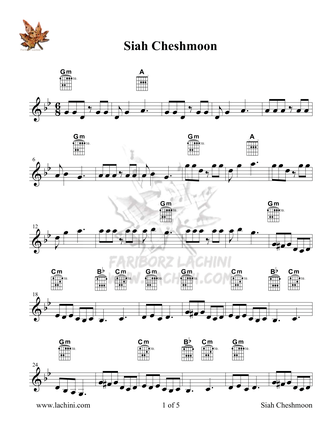 Siah Cheshmoon Sheet Music