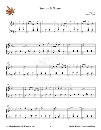 Sunrise Sunset Sheet Music