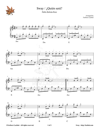 Sway - Easy Sheet Music