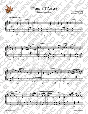 T`Amo E T`Amero Sheet Music