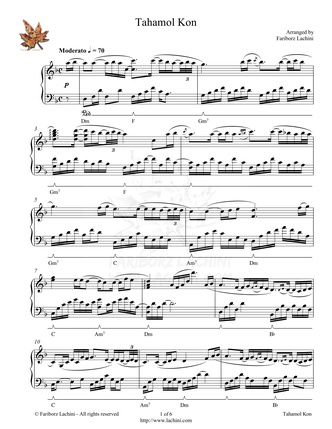 Tahamol Kon Sheet Music