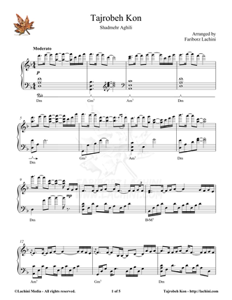 Tajrobeh Kon Sheet Music