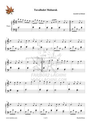 Tavallodet Mobarak 2 Musiknoten