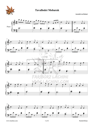 Tavallodet Mobarak 2 Sheet Music