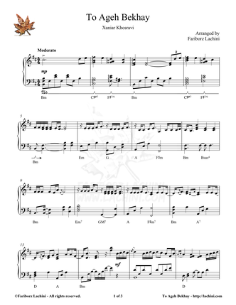 To Ageh Bekhay Sheet Music