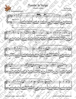 Tombe la Neige Sheet Music
