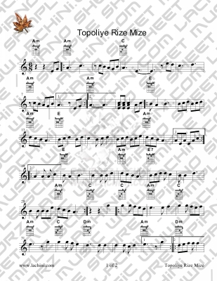 Topoliye Rize Mize Sheet Music