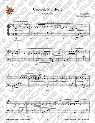 Unbreak My Heart Sheet Music