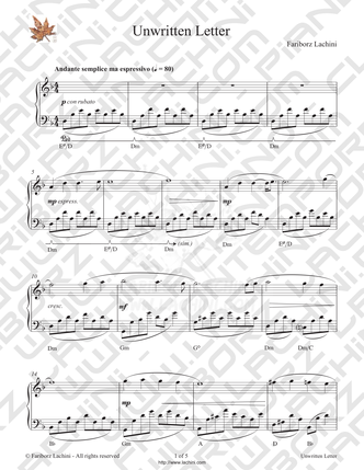 Unwritten Letter Sheet Music