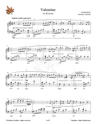 Valentine Sheet Music