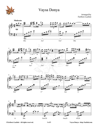 Vaysa Donya Sheet Music