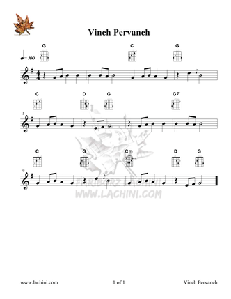 Vineh Pervaneh Sheet Music