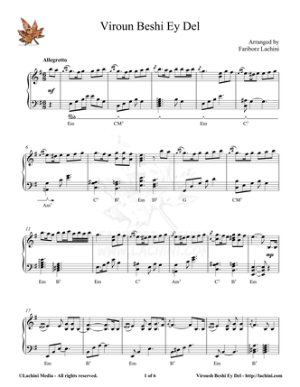 Viroun Beshi Ey Del Sheet Music