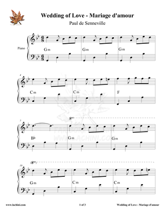 Marriage d`amour - Wedding of Love Sheet Music