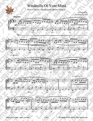 Windmills Of Your Mind Sheet Music