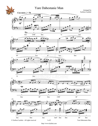 Yare Dabestanie Man Sheet Music