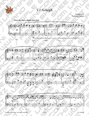 YeAshegh Sheet Music