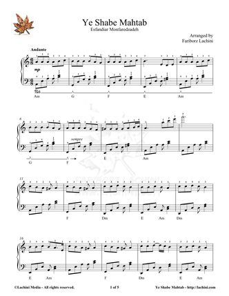 Ye Shabe Mahtab Sheet Music