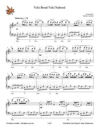 Yeki Bood Yeki Nabood Musiknoten