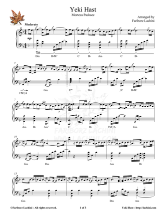 Yeki Hast Sheet Music