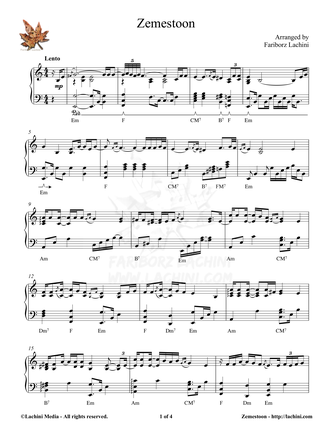 Zemestoon Sheet Music