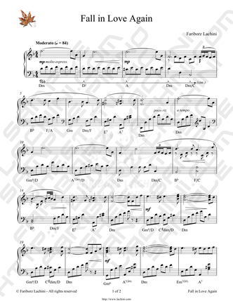 Fall in Love Again Sheet Music